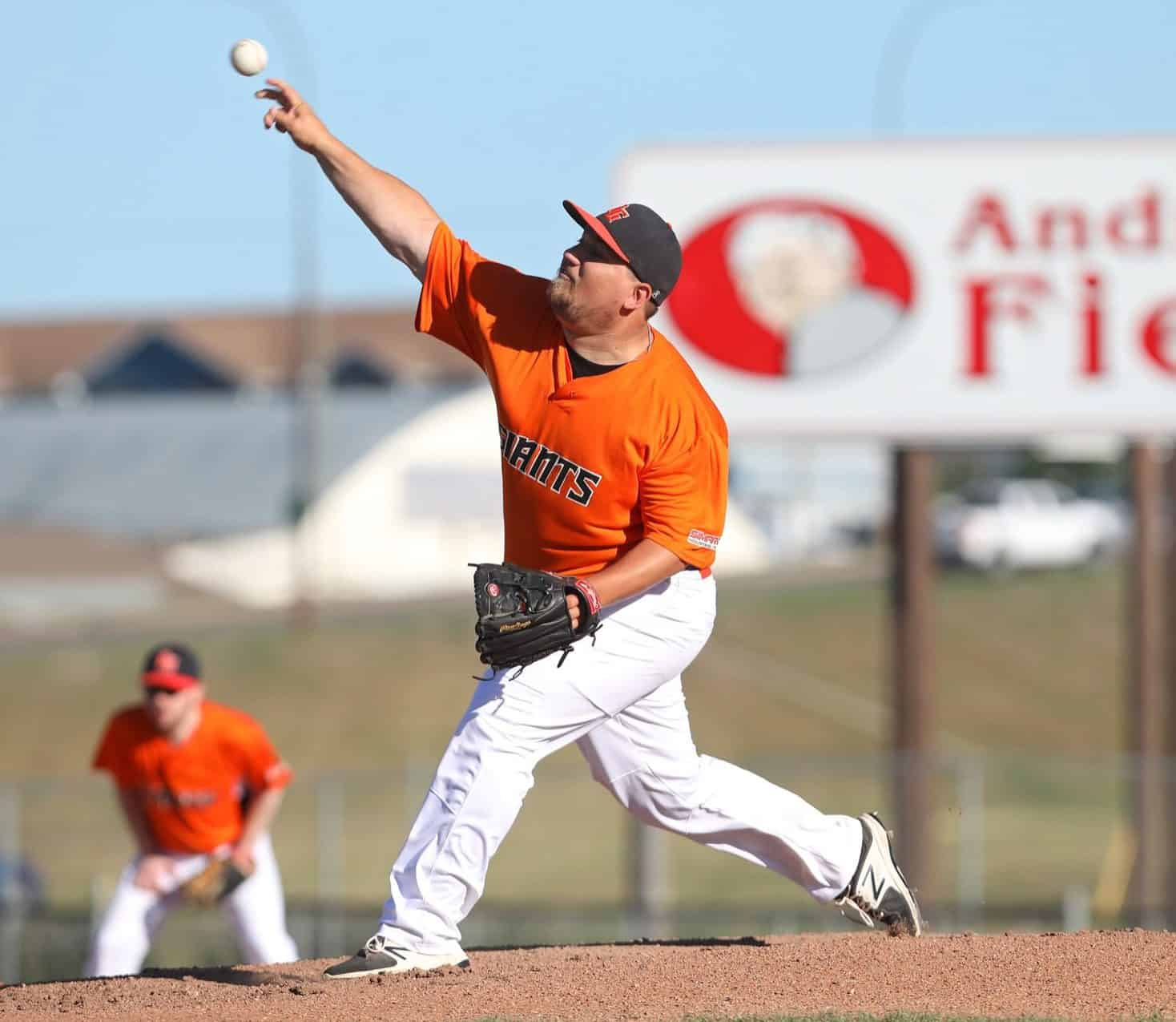 27062018 Jeff Kriski #16 of the Simard Industrial Giants throws a pitch during Andrew Agencies Senior AA baseball league action against the GW Vacuum Trucking Services Young Guns at Andrews Field on Wednesday evening(Tim Smith/The Brandon Sun)